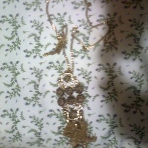 Golden Long necklace with Matching Earrings